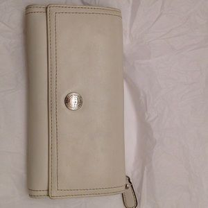 Coach white leather checkbook wallet